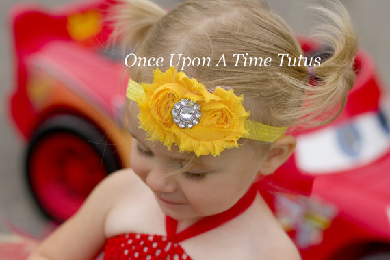 Mariage - Bright Yellow Shabby Chic Flower Rose Headband - Newborn Baby Hairbow - Little Girl Hair Bow - Easter, Spring, or Summer Wedding Hair Piece