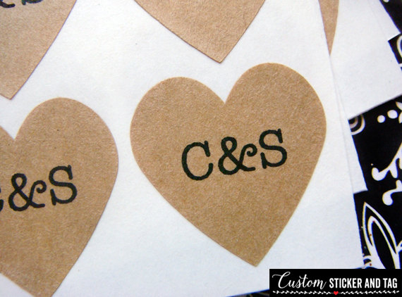 108 custom wedding heart stickers 75 inch brown kraft paper envelope seals stickers wedding favor s 07