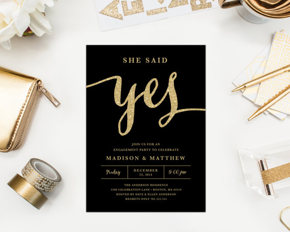Wedding - Printable - She Said Yes Engagement Party Invitation