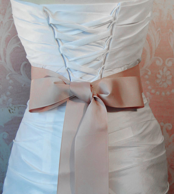 Hochzeit - Blush Grosgrain Ribbon, 2.25 Inch Wde, Pale Mauve Ribbon Sash, Pink Bridal Sash, Wedding Belt, 4 Yards