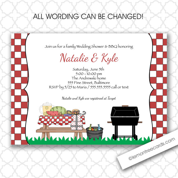 bbq wedding or bridal shower invitation couples shower familybaby shower babyq baby q backyard party cookout