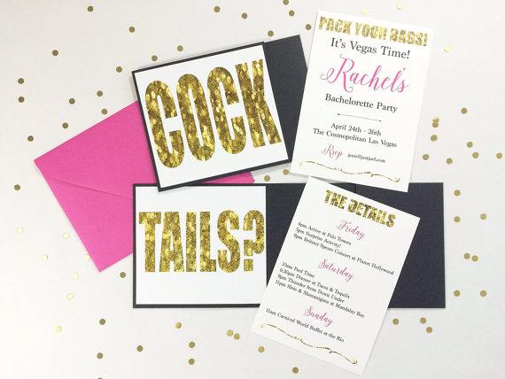 cocktails bachelorette invitation with itinerary bachelorette