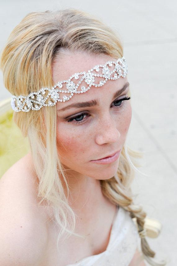 زفاف - crystal Headband ,Bridal Headband, Vintage Headband, Beaded Headband, Crystal Headband, Bridal Headpiece, Headpiece, Wedding Hair