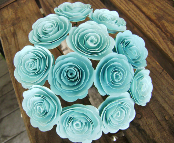 """Hochzeit - Teal light blue turquoise paper spiral 1-1 1/2"""" rolled roses one dozen flowers bouquet for toss, decorations, weddings bridesmaids"""