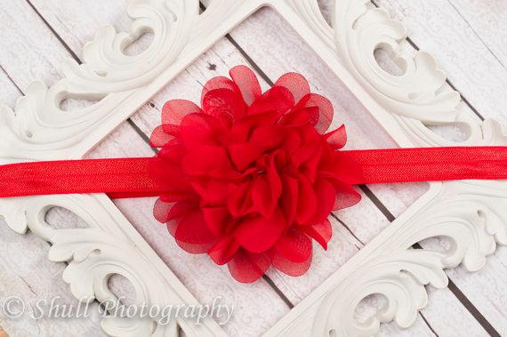 زفاف - Red Chiffon headband-Red Baby Headband-Red Flower Girl Headband-Baby Girl Headband-Wedding Red Headband-Infant Headband