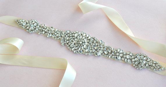 Hochzeit - Bridal Rhinestone Wedding Sash