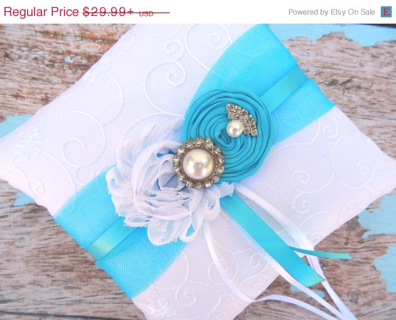 Mariage - 20 % OFF SALE Ring Bearer Pillow  / Turquoise Ring Bearer Pillow /  Wedding Pillow / Turquoise Wedding pillow /