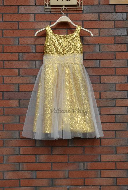 Mariage - Gold Sequins Ivory Tulle Flower Girl Dress Baby Girl Party Birthday Dress