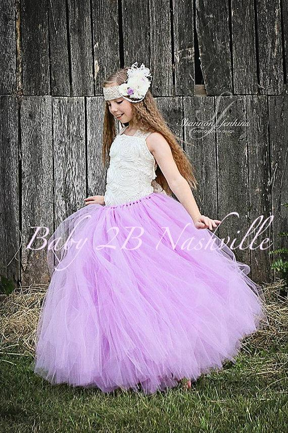 Lilac Flower Girl Dress Wedding Flower Girl Ivory And Lilac Dress ...