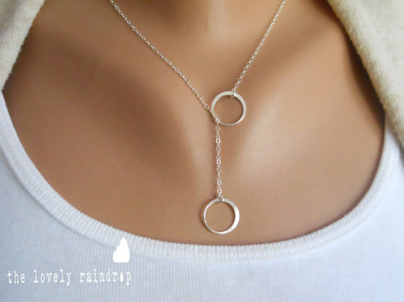 """Hochzeit - Sterling Silver Eternity/Circle Lariat Necklace - 1/2"""" in diameter - Sterling Silver Jewelry - Gift For - Wedding Jewelry - Gift For"""