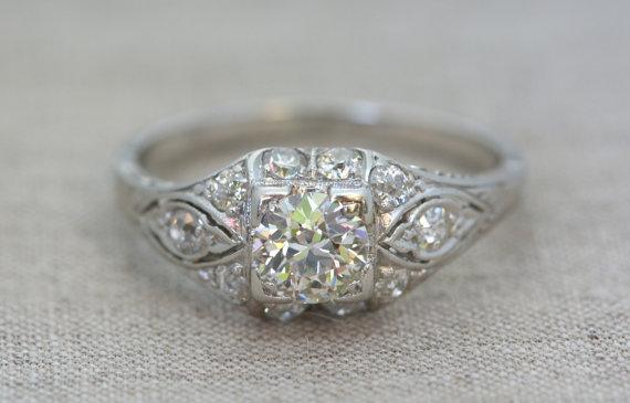 Свадьба - Antique 1.20ctw Old European/Transitional Cut Diamond and Platinum Engagement Ring; Edwardian / Art Deco R365