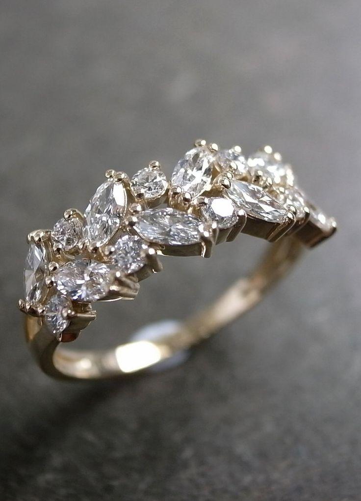 زفاف - Marquise Diamond Wedding Ring In 14K Yellow Gold