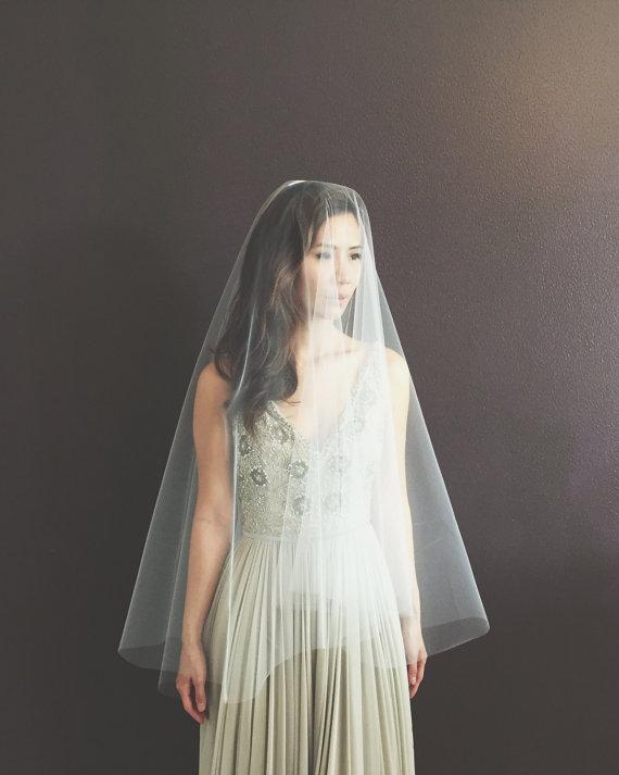 Mariage - Cara** Fingertip Length Drop Veil, Circle Drop Veil, Fingertip Length Veil, Bridal Illusion Tulle, Ivory, White, Diamond White, Metal Comb