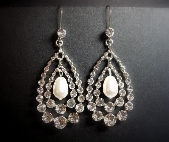 Mariage - Chandelier Bridal earrings, Crystal Wedding earrings, Bridal jewelry, Rhinestone earrings, Teardrop earrings, Pearl drop earrings