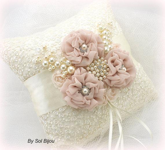 زفاف - Ring Bearer Pillow, Bridal, Wedding, Ivory, Cream, Blush, Lace, Crystals, Pearls, Vintage, Elegant, Gatsby Wedding