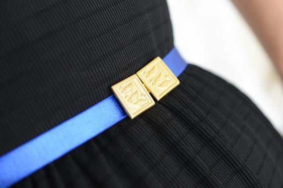 Mariage - Royal Blue belt - Gold Belt - Bridesmaids Belt - wedding belt - Stretch Belt - Skinny Belt - Evening Dress Belt - Something Blue - Gold duck