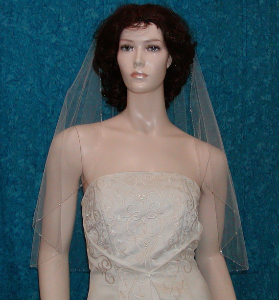 Mariage - Bridal Veil  Elbow length Crystal Beaded Edge  Swarovski Crystals Shining Rocaille Beads.