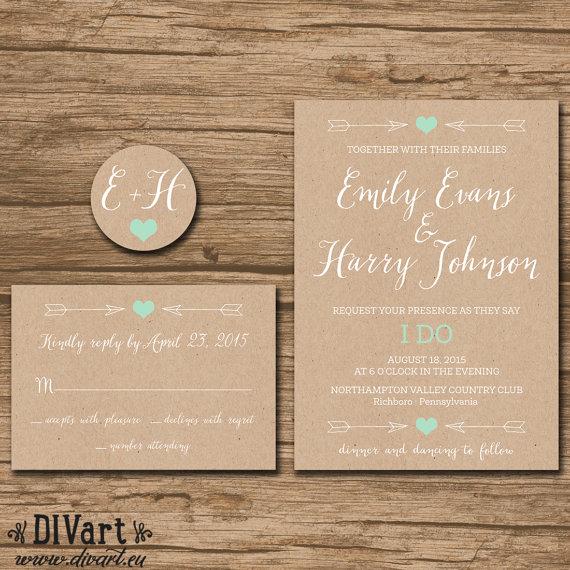 Rustic Wedding Invitation Suite Response Card Monogram – Rustic Wedding Invitations Kraft Paper