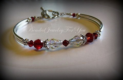 Mariage - Weddings Gift Set of NINE: Ruby Red Bracelet, red jewelry, mother of bride, flower girl, crystal ab jewelry, bridal party, maid of honor