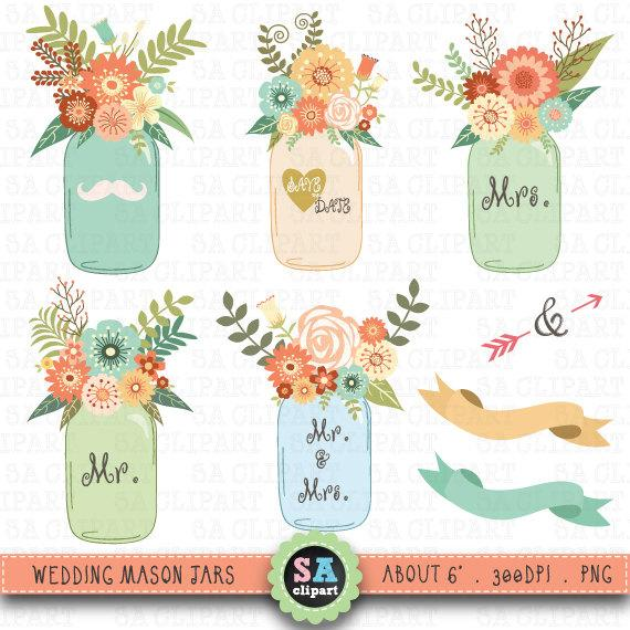 Mason Jar Clipart Wedding Clip Art Pack Vintage Flowers Hand Draw Flora Invitation Instant Wf026