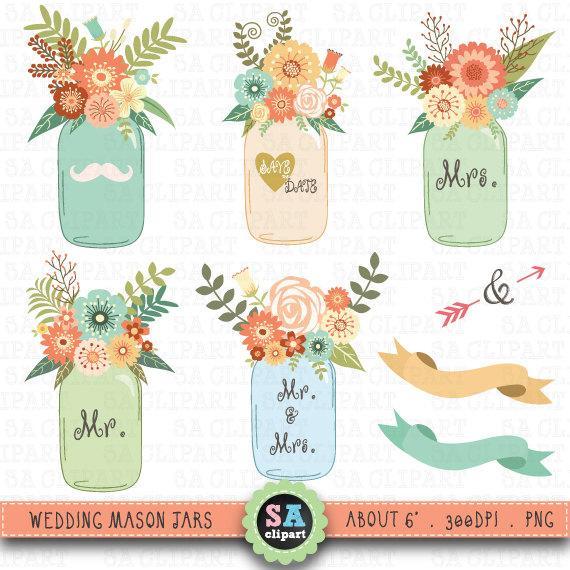 Mason Jar Clipart WEDDING MASON JARclip Art Pack Vintage FlowersHand DrawWedding FloraWedding Invitation Instant Download Wf026