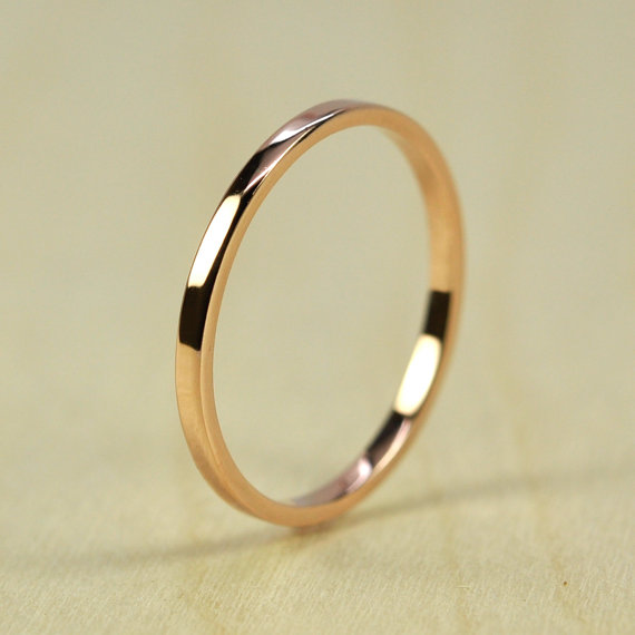 Свадьба - Rose Gold Wedding Band, Skinny Stacking Ring 1.5mm by 1mm Squared Edge, Recycled Eco Friendly, 14K Gold, sizes 3-6, Sea Babe Jewelry