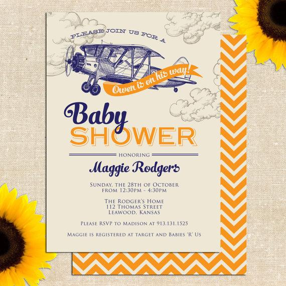 Mariage - Vintage Airplane Baby Shower Invitation PRINTED INVITATIONS or PRINTABLE File
