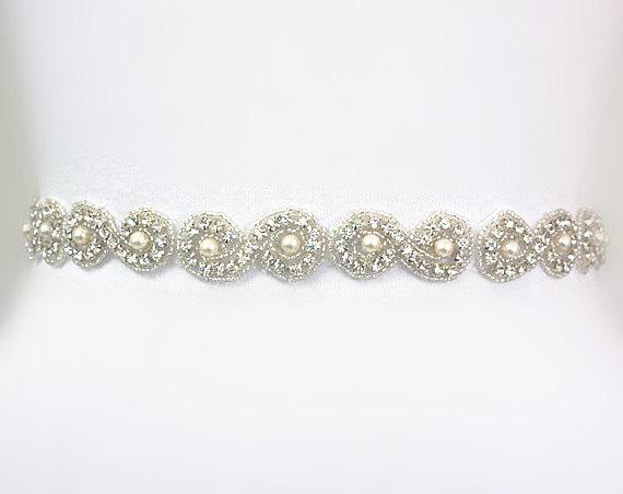 Mariage - Bridal Crystal Rhinestone Sash, Rhinestones Wedding Sash, Ivory Pearls Beaded Bridal Belt, Wedding Belt