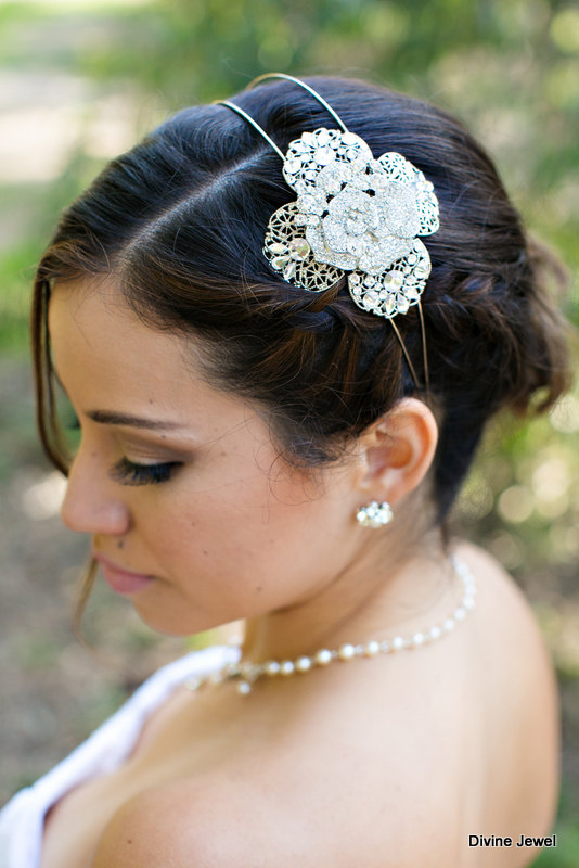 Mariage - Wedding Rhinestone Headband,Statement Rhinestone Headband,Bridal Rhinestone Headband,Vintage Style Rhinestone Headband,Rose,Bride,ANGELINA