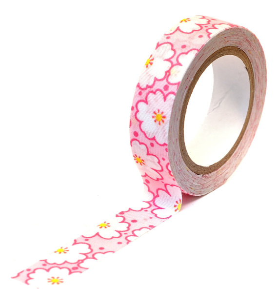 Mariage - Pink Funky Floral Fabric Tape perfect for Scrapbooking, Rubber Stamping, Gift Wrap, Weddings, Card Making, Border, Birthday, Party, Cards