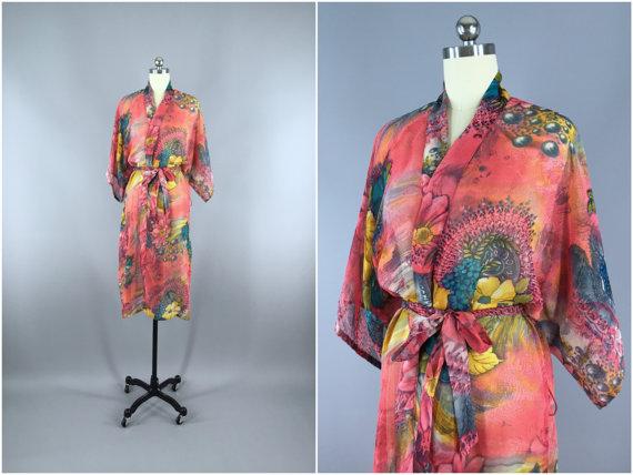 le dernier 361dd 7256d Chiffon Sari Robe / Chiffon Robe Kimono / Vintage Indian ...