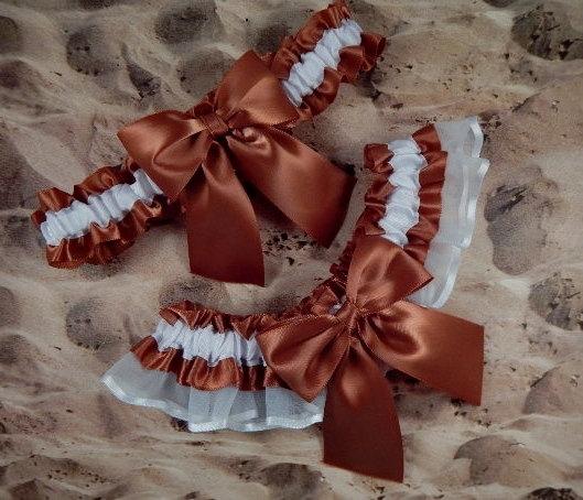 Свадьба - Copper Brown White Organza Wedding Bridal Garter Toss Set