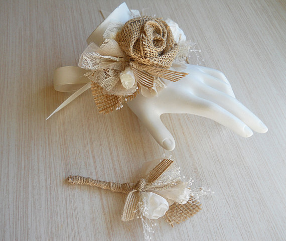 Mariage - Burlap & Lace Wedding Wrist Corsage and/or Boutonniere, for Rustic, Country, Bohemian, Woodland Weddings. Made to Order.