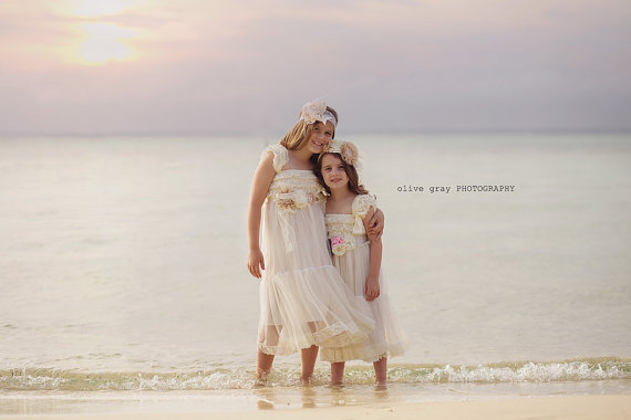 Beach Wedding Flower Girl Dress, Ivory Toddler Girls Lace Dress ...