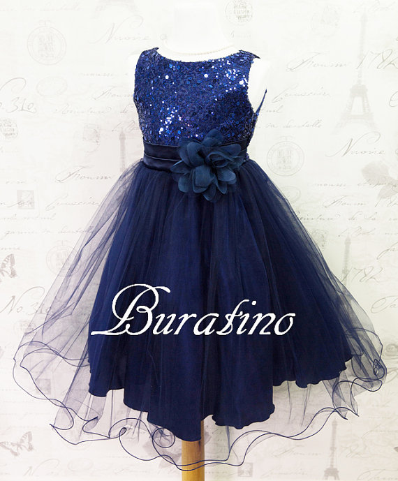 Flower Dress Navy Sequin Toddler Wedding Special Occasion Ets0155nv