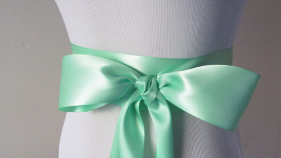Mariage - Mint Green Ribbon Sash / Double Faced Ribbon Sash / Bridal Sash  /Bridal  / Mint Green
