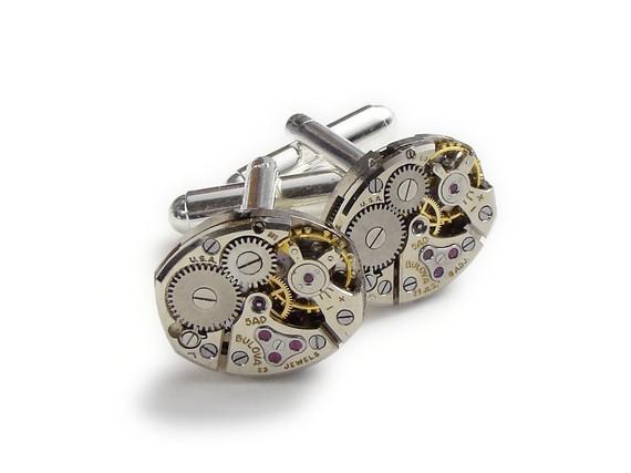 Mariage - Steampunk Cufflinks Vintage Bulova watch movements gears anniversary wedding Grooms Gift silver cuff links men jewelry Steampunk Nation 2710