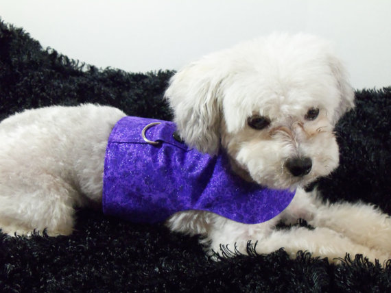 Mariage - Purple  Dog Harness Vest with Bow Tie or Bow For Wedding or Holidays