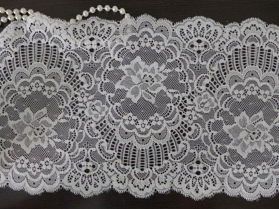 Mariage - Vintage Elastic Lace Trim White Embroidery Stretch Lace Fabric with Unique design7.09 Inch Wide 2 Yards