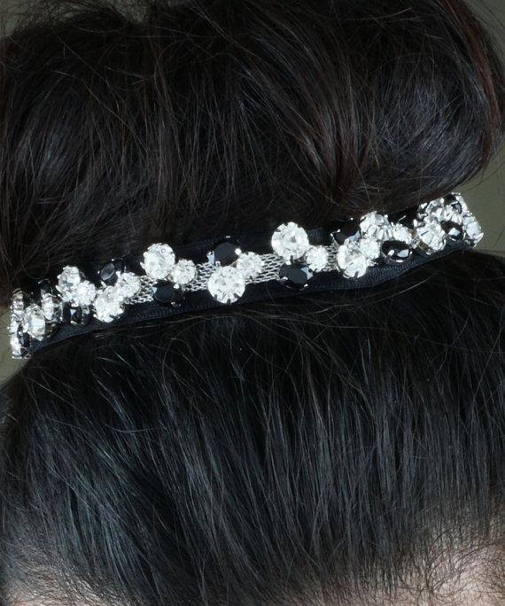 Mariage - Enchanting Black and Clear Crystal Netted Wedding Headband Hair Piece