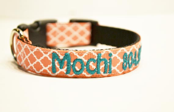Свадьба - New: Personalized - Coral Moroccan Dog Collar - Made to order