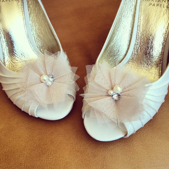 Свадьба - Blush Tulle Shoe Clips - Set of 2 - BEST SELLER