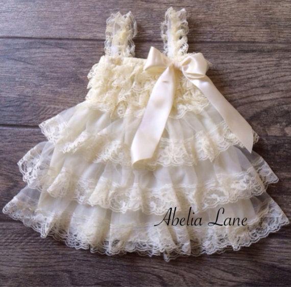 Hochzeit - Flower girl dress,lace flower girl dress,baby lace dress,vintage,country flower girl,lace dress,cream lace dress,first birthday dress
