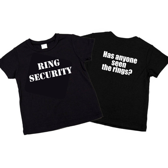 """Свадьба - Ring Security T-Shirt Wedding """"Has Anyone Seen the Rings?"""" Gift for Wedding Celebration / Wedding Party"""