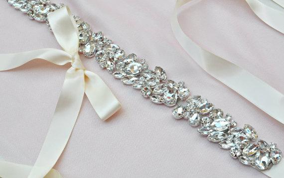 Mariage - Rhinestone Wedding Sash - Bridal Sash - Wedding - Bridal