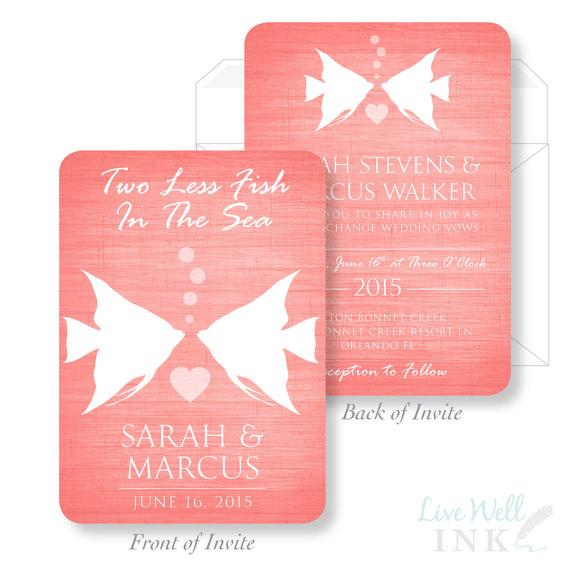 printed wedding invitation two less fish in the sea wedding