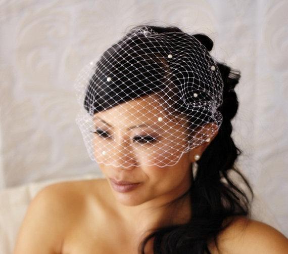 Wedding - 15 inch Bandeau Birdcage Veil with Pearls