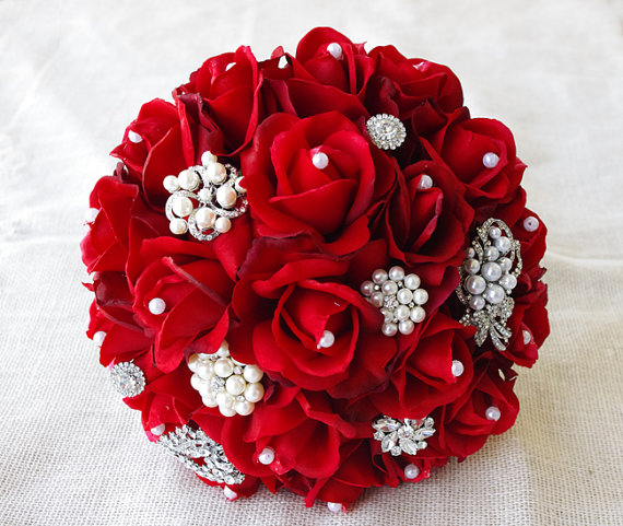 red silk pearl brooch wedding bouquet natural touch. Black Bedroom Furniture Sets. Home Design Ideas