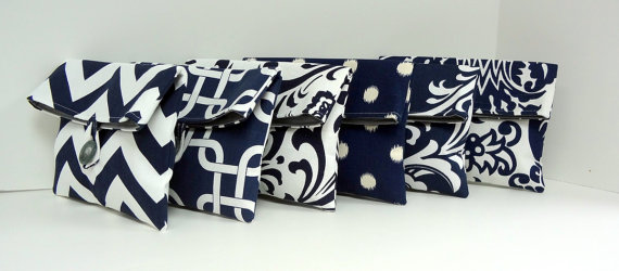 Mariage - Navy Wedding Clutches Set of Six (6) Bags