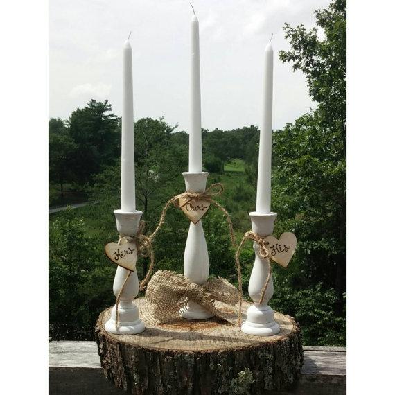 Свадьба - Rustic Wedding Unity Candle Holders